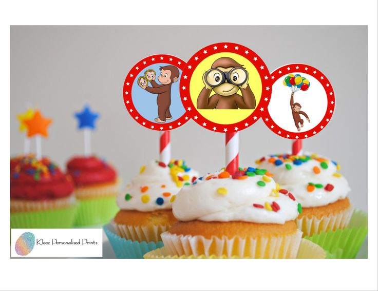 Curious George Cupcake Toppers, Curious George Birthday Circles, Instant Download, Digital File by KleezPrints on Etsy