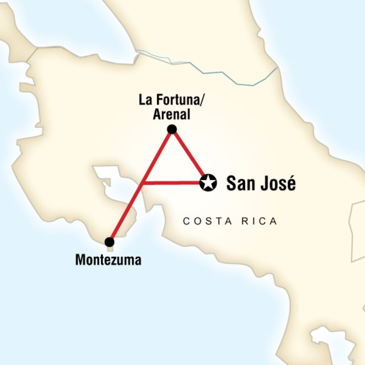 Route map for Costa Rica on a Shoestring (CRBC)