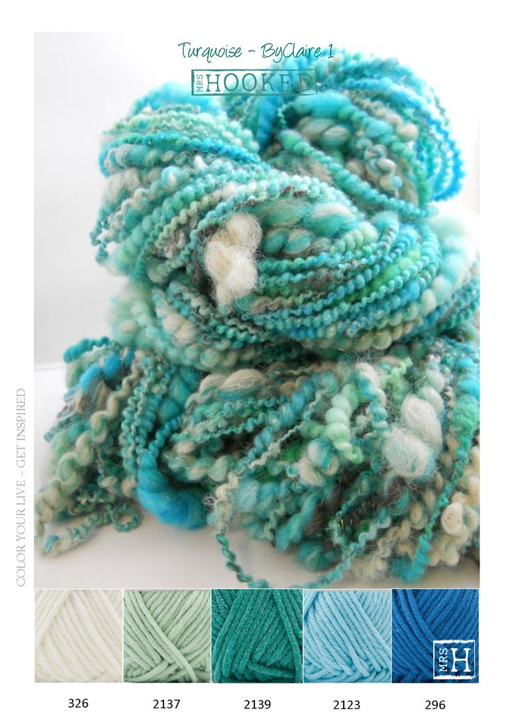 Kleurinspiratie kleurig wol - blauw en groen tinten - turquoise - Garen ByClaire 2