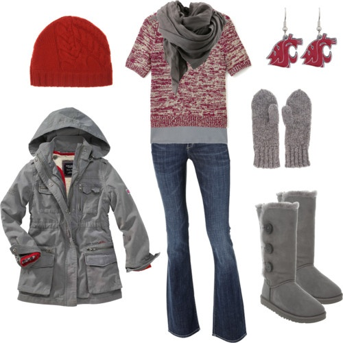 Go : Red, Style, Winter Clothing, Color, Cute Winter Outfits, Jackets, Grey, Boots, Earrings
