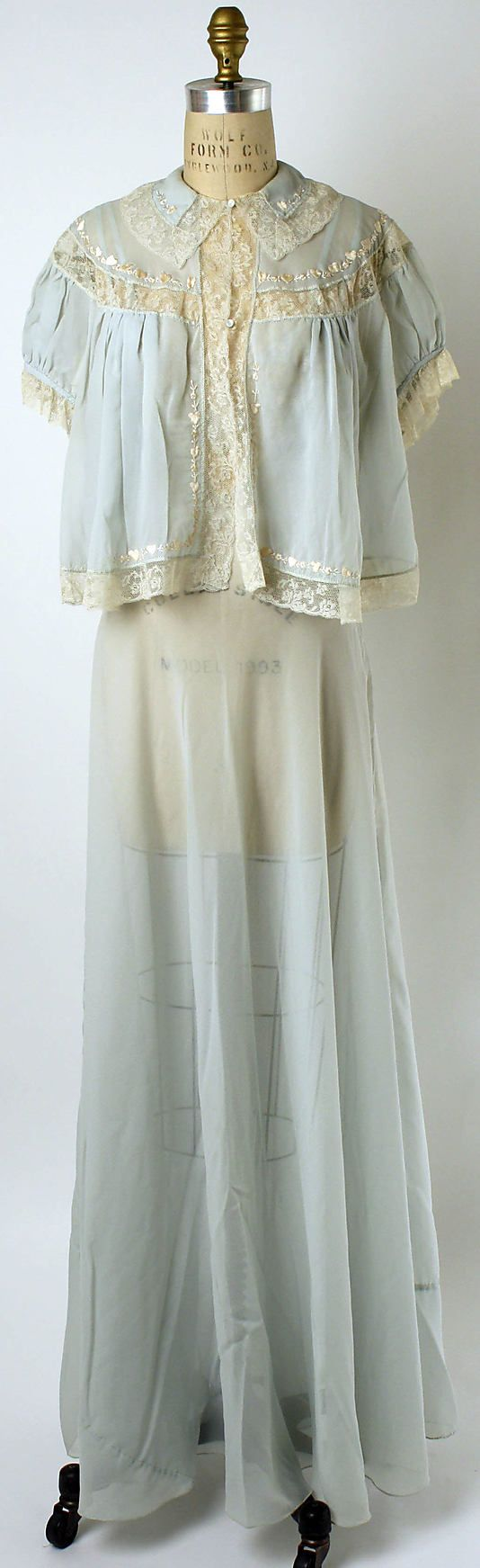 pale blue silk nightgown with jacket, 1952 ...again. just want the bed jacket