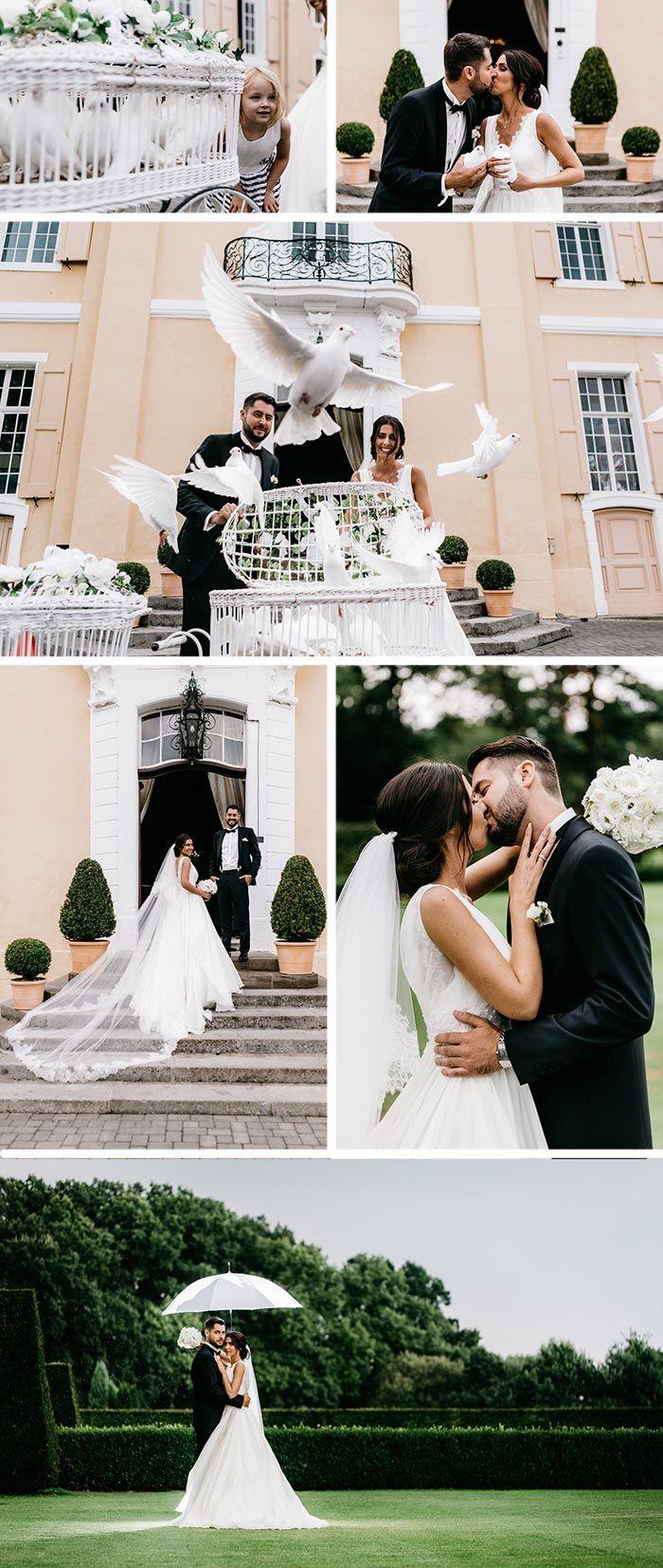 Weisse Hochzeit Im Schloss Miel I Fotostory Zur Hochzeit Weisse Hochzeit Hochzeit Tauben Hochzeit