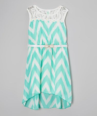 This Mint Zigzag Lace Hi-Low Dress - Toddler & Girls by Just Kids is perfect! #zulilyfinds