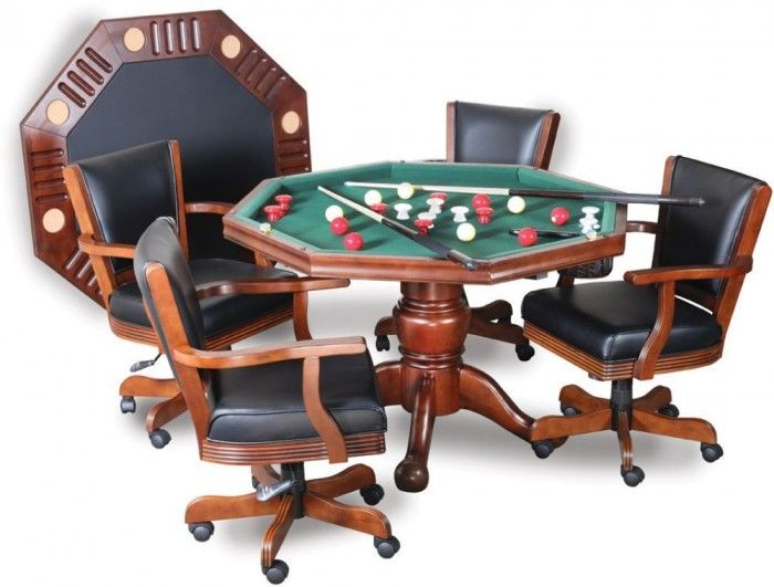 3 In 1 Table For Poker, Dining, Bumper Pool And With Accessories