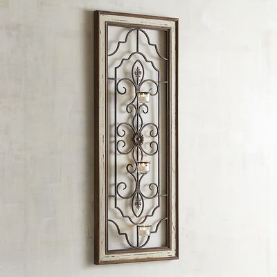 framed scroll tealight holder wall sconce brown