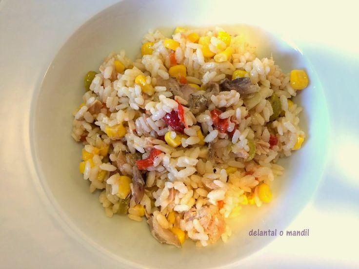 delantal o mandil: Ensalada de arroz con sardina de cubo
