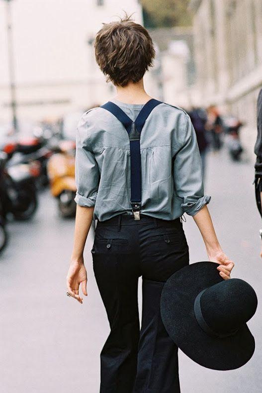 suspenders, hat.