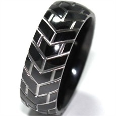 Masculine mens tire tread ring  I really like the black with silver recesses - WANT