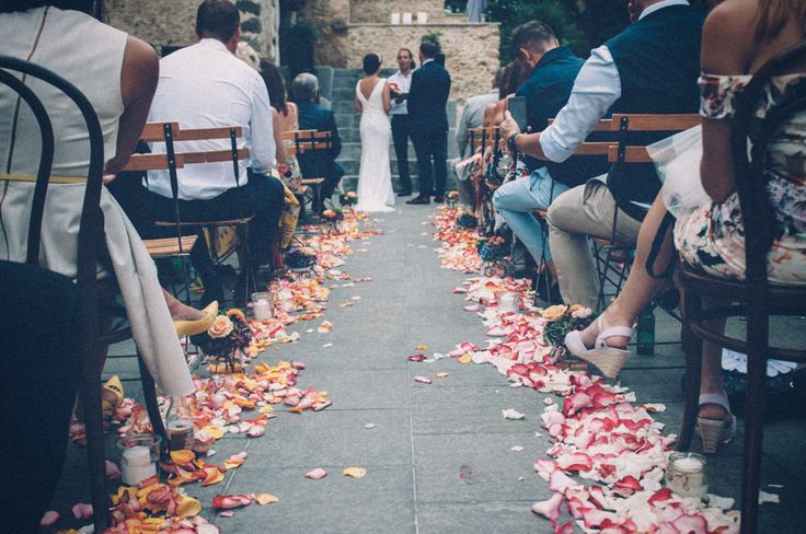 Petal Filled Aisle | Intimate French Chateau Wedding | Lamero Pronovias Wedding Dress | Lance Jimmy Choo Sandals | Britten Weddings Cathedral Length Veil | Images by Susie Lawrence | http://www.rockmywedding.co.uk/laura-will-2/