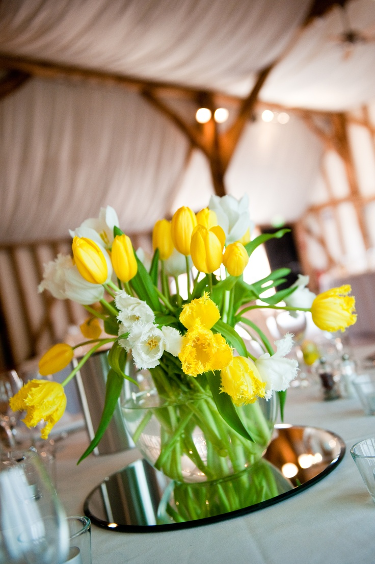 Tulip centerpiece for Easter Wedding - add matching tulip gifts as party favors :)