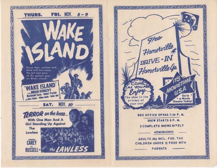 "1950's Drive-In Movie brochure ""Wake Island"""