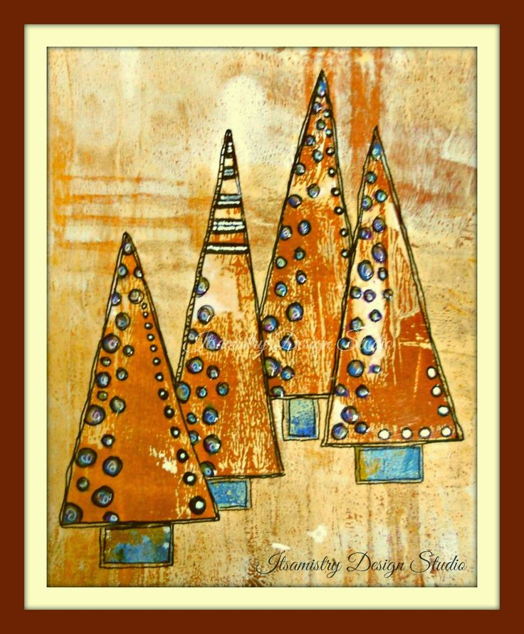 Itsamistry Design Studio`- tutorial - Christmas Card With My Gelli Printing Plate I've left mine as it is for now - the above image shows how it would look if it was mounted and framed. I hope the above steps have given you a starting point of pulling a gelli print. There are more detailed and informative videos and tutorials by the lovely people at Gelli Arts. So why not pop on over to their blog website or facebook page.