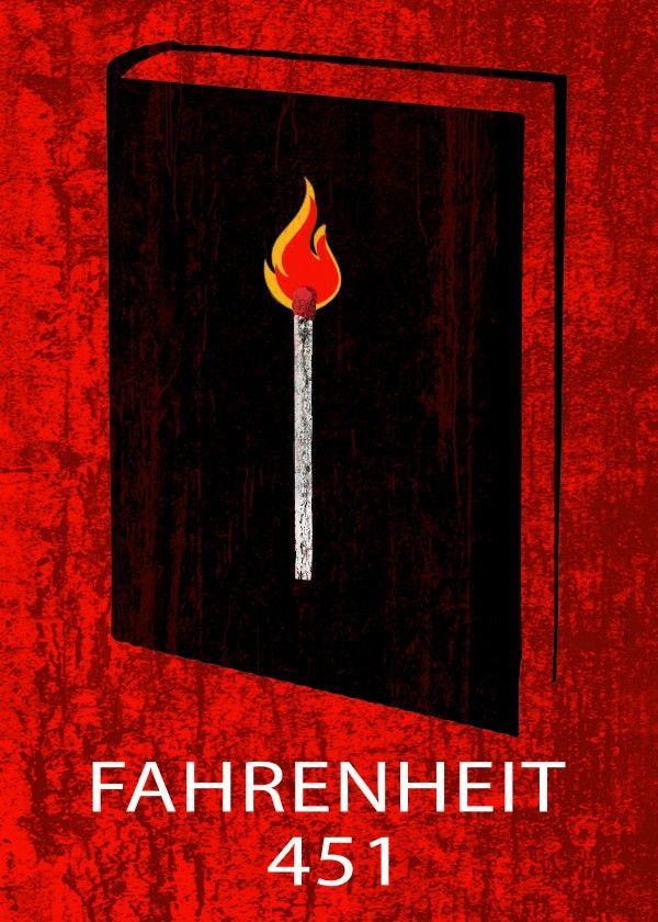 Fahrenheit 451 Poster by Emily Pigou  #book #cover #novel #fantasy #fahrenheit #red #design #poster #displate