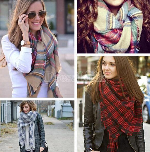Nuevos detalles sobre Lady invierno de las mujeres de Infinity manta mantón de gran tamaño de la tela escocesa de tartán Compruebe abrigo de la bufanda