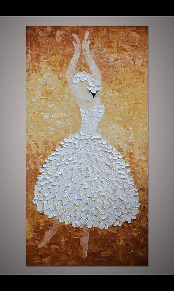 Hand-painted white brown dancing ballerina by LisaHomeArts on Etsy