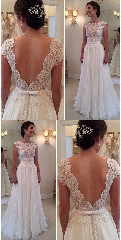 Backless Bridal Dress,Lace Bodice Prom Dress,Custom Made Evening Dress,17036 from FancyGown