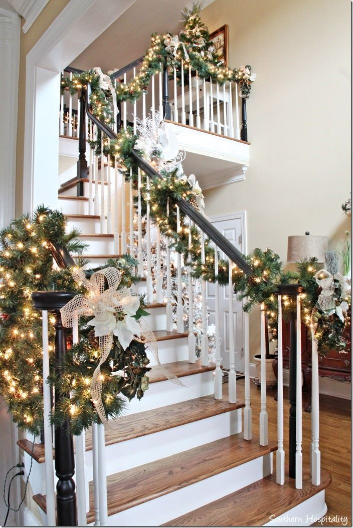 25 Best Ideas About Christmas Stair Garland On Pinterest