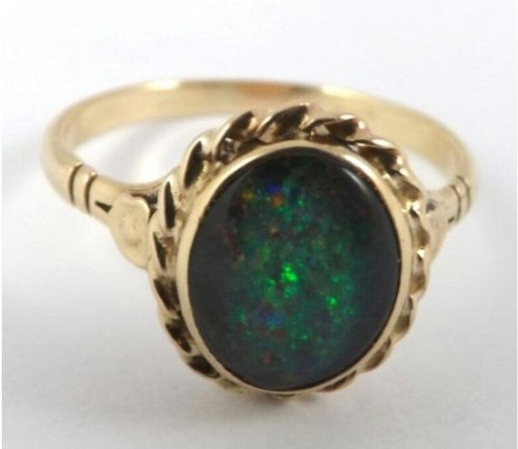 Opal Ring, Australian Black Multicoloured Opal, 9K Gold, Large Size P, Irredecent Opal Ring, 1 cm X 8 mm