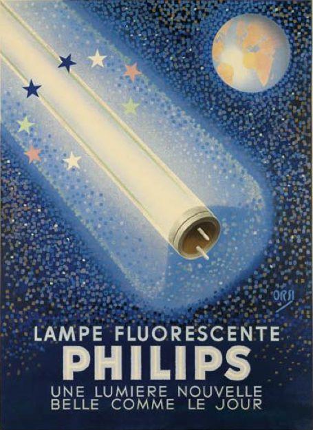 Poster by Orsi (1889-1947), ca 1940, Lampe fluorescente Philips (une lumière nouvelle belle comme le jour).