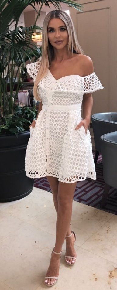 #fall #outfits White Lace One Shoulder Dress