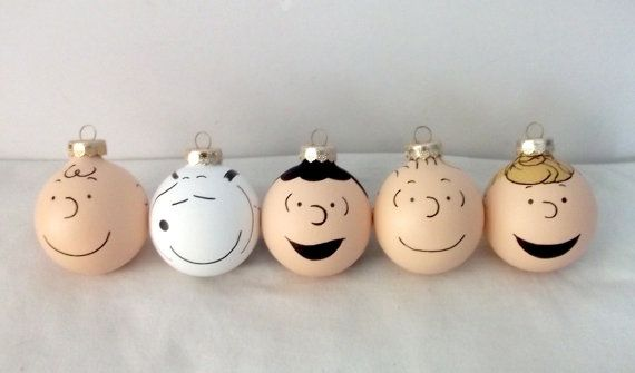 Peanuts Gang Painted Christmas Ornament Set of 5 by GingerPots