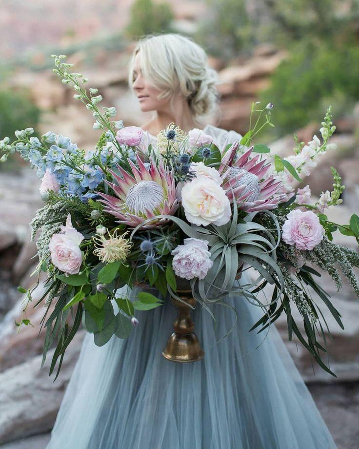 Служба цветов, свадебные букеты с протеей