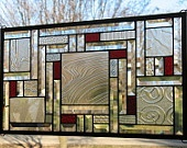 Study in Clears with Red Stained Glass Window Panel