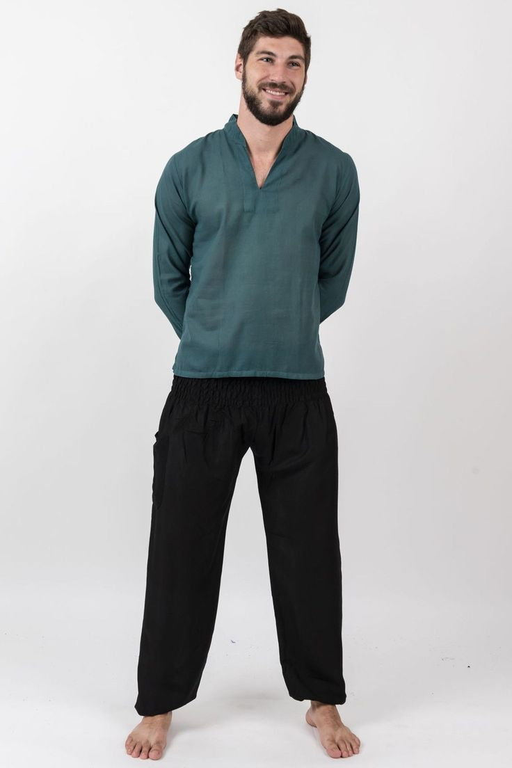 Mens Yoga Shirts Nehru Collared in Dark Teal – Harem Pants