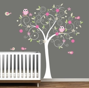 Owl Theme Baby Room (to go with the monkeys if we have a girl in the future). Love the tree!! (Little girl room. Change colors for boy room)