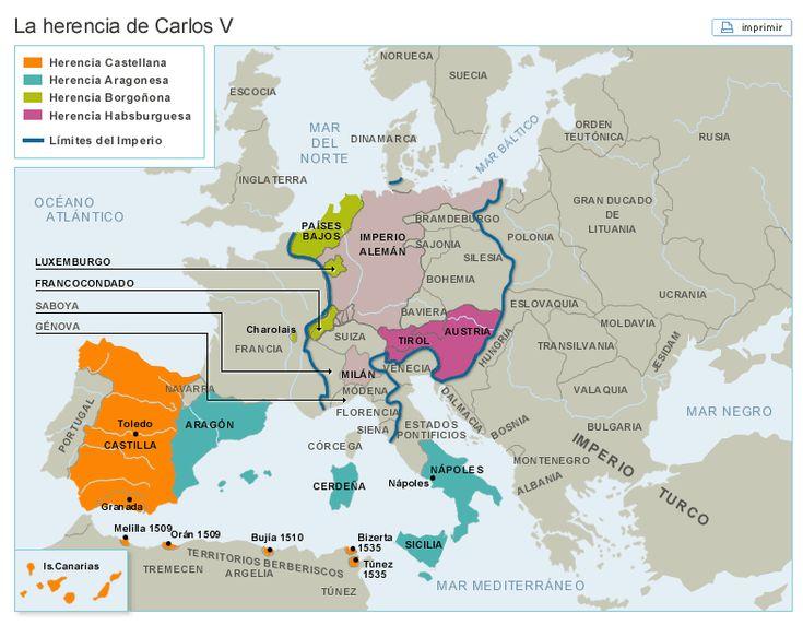 Mapa con los territorios Heredados por Carlosv.