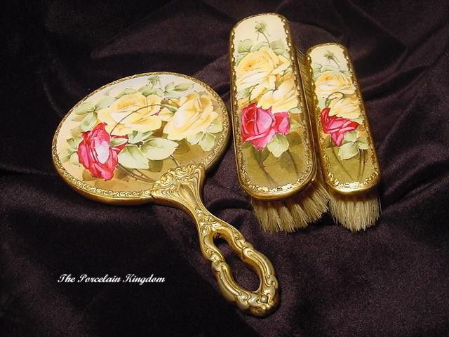 Limoges French Gilt Dresser Set Hand Mirror Brushes Painted Heirloom Roses Victorian Vanity