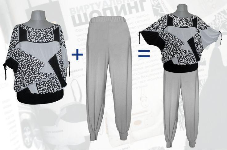 62$ Летний брючный костюм для полных женщин в мелкий цветочек: блузка свободного покроя серые + брюки алладинки Артикул 677, р50-64