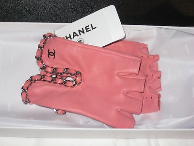 NWT CHANEL Pink Fingerless Logo Chain Bracelet Dress ...