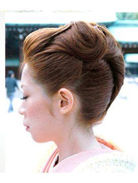 結婚式の髪型(ヘアアレンジ) 着物にあう夜会巻きアレンジ