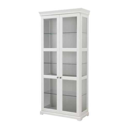 """LIATORP Glass-door cabinet - IKEA  this is my """"china"""" cupboard.  might """"want/need""""  another on the other side of the doorway for my other dishes"""