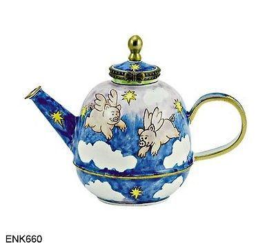 KELVIN CHEN Enamel Mini Hand Paint Copper Teapot   Flying Pig Angel