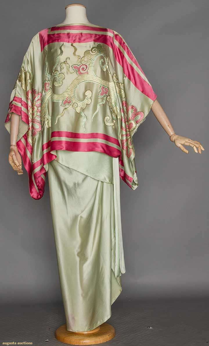 1910-1914 Sea foam silk charmeuse 2-piece, kimono top w/ Chinese style embroidery & pink satin inset bands, long narrow skirt w/ attached silk camisole,
