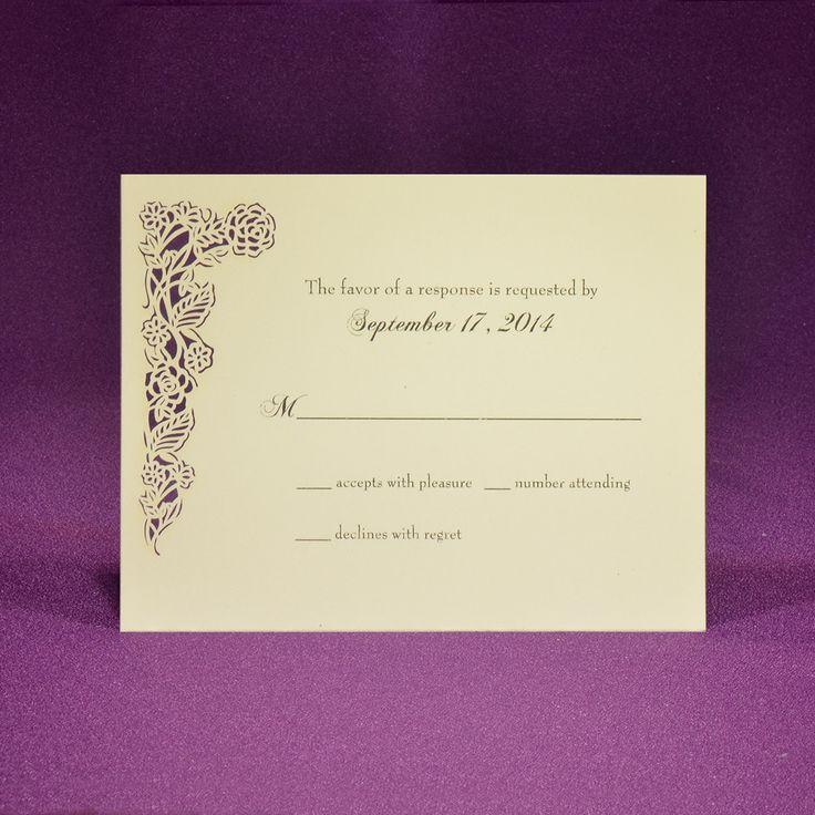 proper response time for wedding rsvp%0A Laser Cut Accessory Card RSVP  Rose Vine  A   Offset Printed