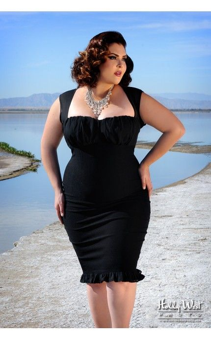The Micheline Dress in Black with Black Chiffon Trim - Plus Size | Pinup Girl Clothing = The perks of being curvaceous ;)
