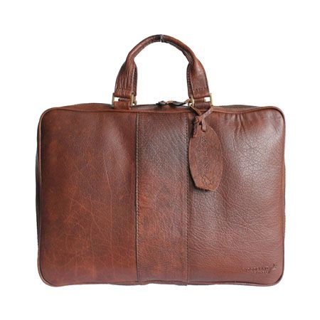 Woodland Leather Brown Leather Business Laptop Bag