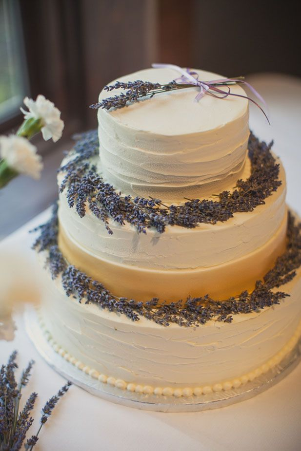 Wedding cake with fresh lavender
