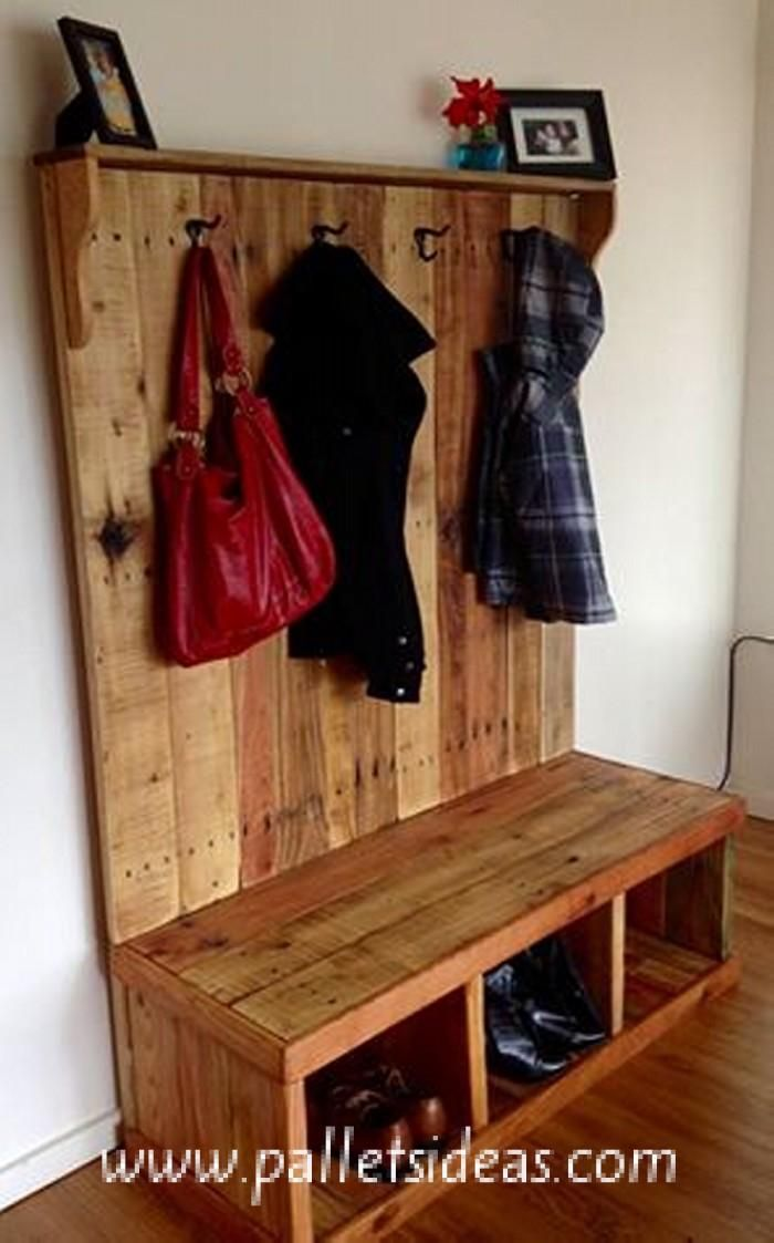 Rustic Pallet Wood Hall Tree