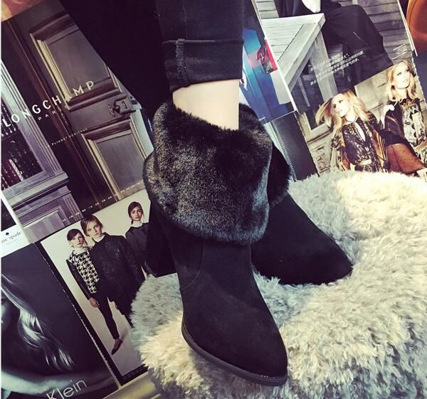 Find More Women's Boots Information about 2016 new winter boots with thick high heeled boots Martin pointed boots warm plush rabbit shoes,High Quality winter woolen,China winter boot clearance Suppliers, Cheap boots winter women from LikeGirl Store on Aliexpress.com