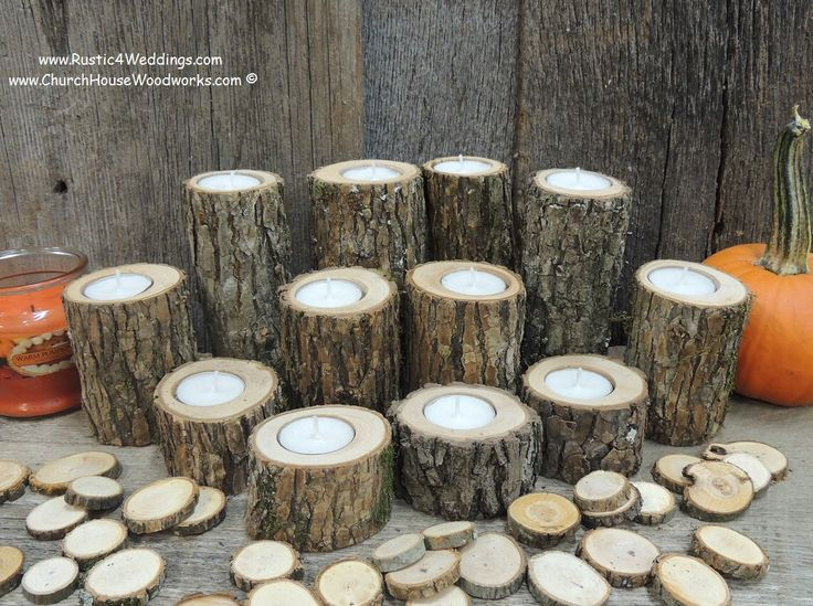 12  Rustic Candle Holders, Tree Branch Candle Holders, Rustic Wedding Centerpieces, Wood Candle Centerpieces by ChurchHouseWoodworks on Etsy https://www.etsy.com/listing/252578516/12-rustic-candle-holders-tree-branch