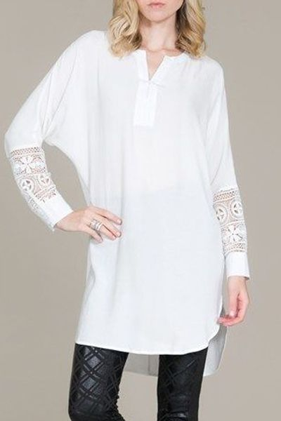 Lace Splicing V Neck Long Sleeve Blouse WHITE: Blouses | ZAFUL