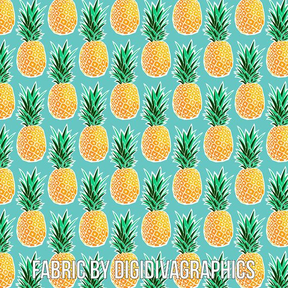 Tropical Pineapple Fabric by the Yard  by DigiDivaGraphics on Etsy