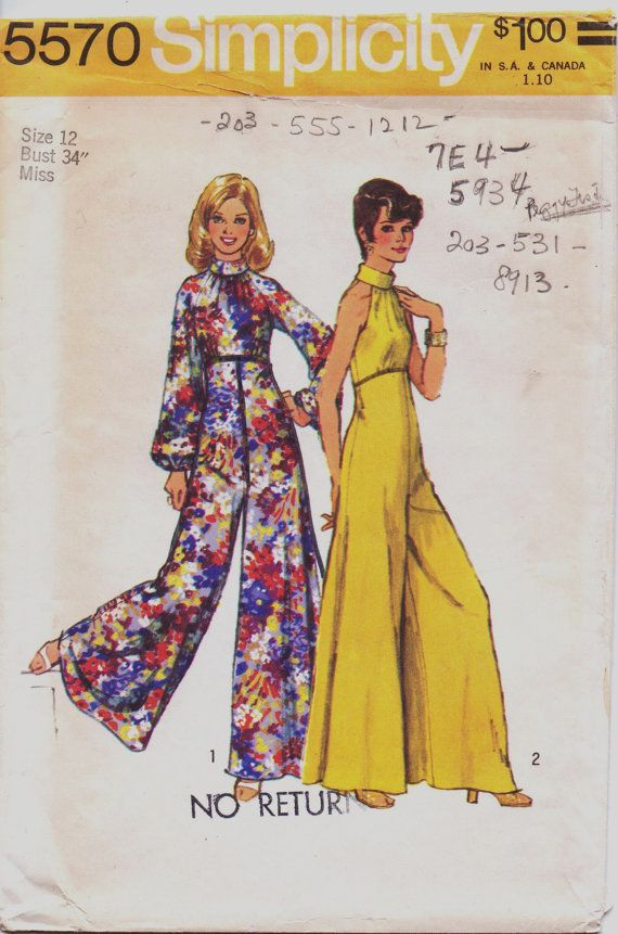 Vintage 70s Simplicity Pattern 5570 Womens by CloesCloset on Etsy, $12.00 ~ I don't like jumpsuits, but these are pretty