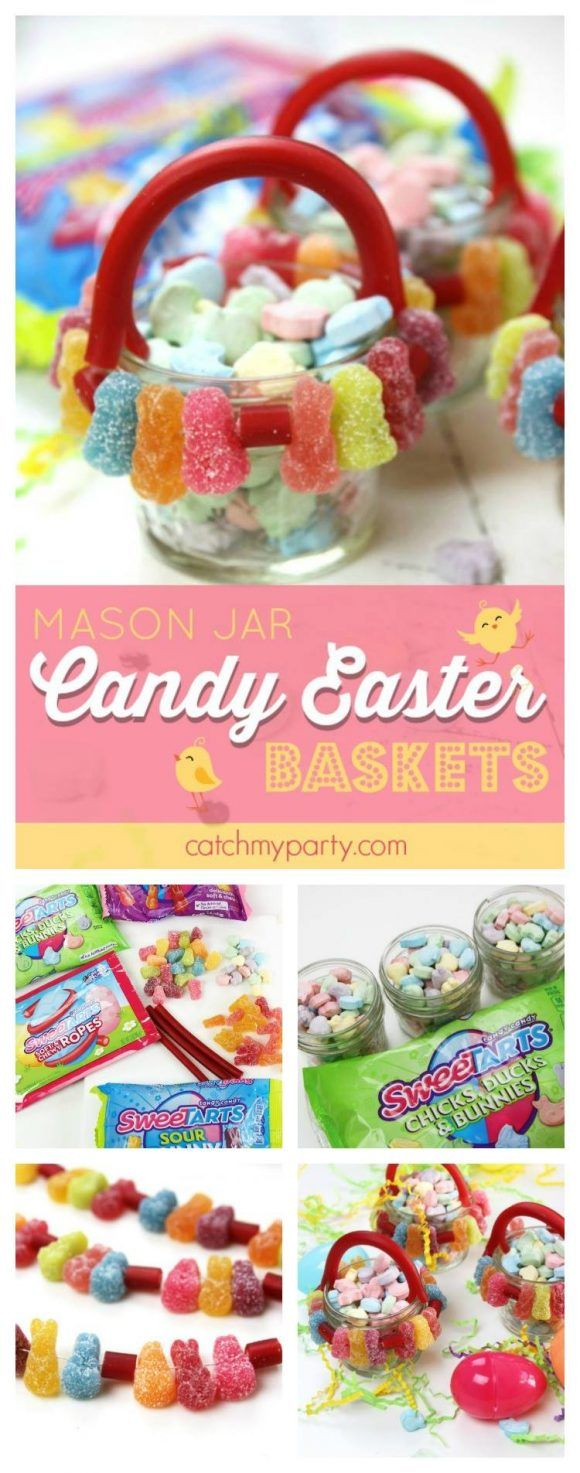 Mason Jar Easter Candy Baskets I created featuring SweeTARTS candies! These are so easy to make and so cute! #ad | CatchMyParty.com