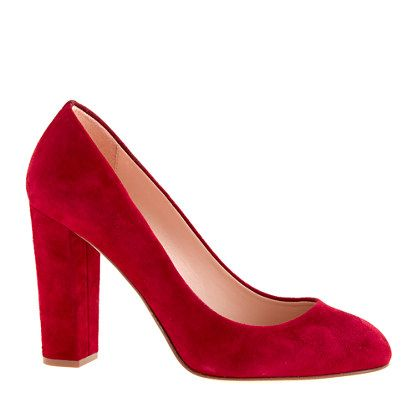The red shoe obsession continues...even though I haven't worn heels in over a year | Etta suede pumps from J Crew