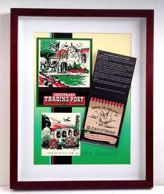 SALE! Regularly 10% more. This is the Capistrano Trading Post Matchbook Display with the large Giant matchbook showing the San Juan Capistrano Mission with the Swallows returning to nest. It is wall decor with a vintage flair, and it is ON SALE for the Holidays! The display gives a